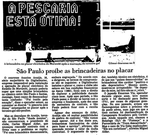 1985-10-27 - A pescaria esta otima - Sao Paulo provoca o Santos no placar eletronico