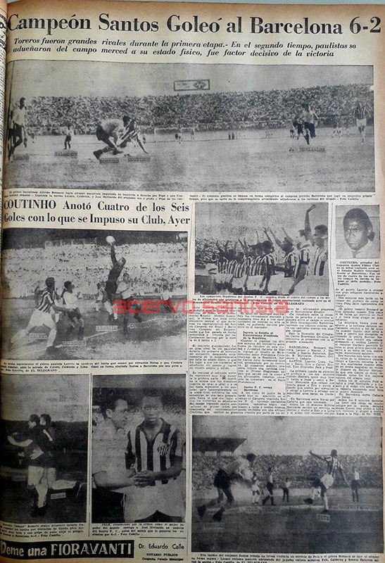 1962-01-07 - Barcelona 2 x 6 Santos - 2 - Jornal EL Telegrafo - AD2 -