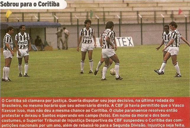 Coritiba não comparece ao jogo em Juiz de Fora (MG) e perde para o Santos por W.O.